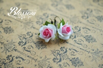 White pink rose earrings and ring, Roses jewelry set