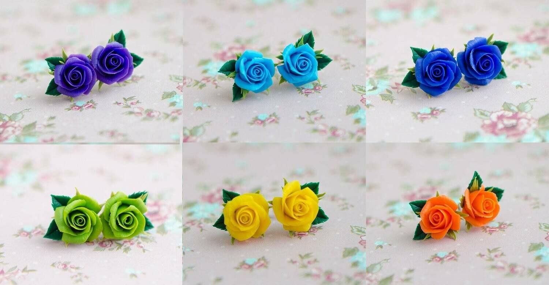 Roses stud earrings, Flower studs