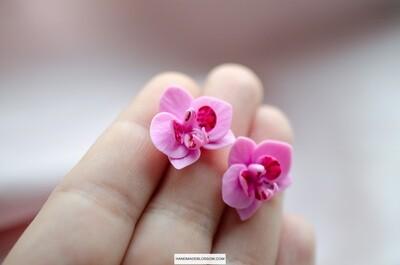 Pink orchid stud earrings, Phalaenopsis flower studs
