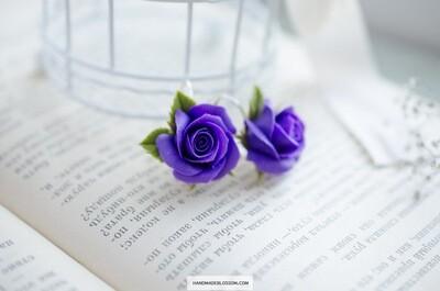 Handmade purple rose earrings, Violet flowers