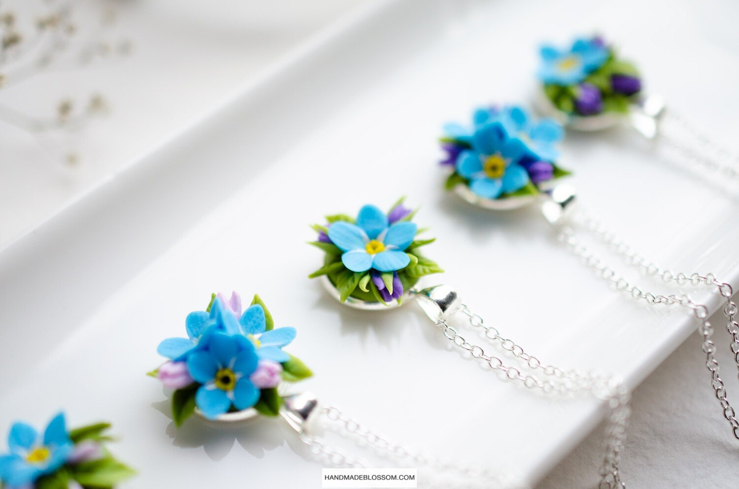 Simple forget me not necklace, Tiny blue flower jewelry