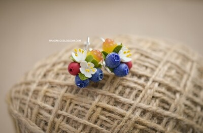 Berry earrings, Cloudberry and Blueberry