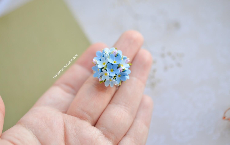 Forget me not ring, Blue myosotis flowers