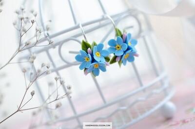 Forget me nots earrings, Blue Myosotis flower jewelry