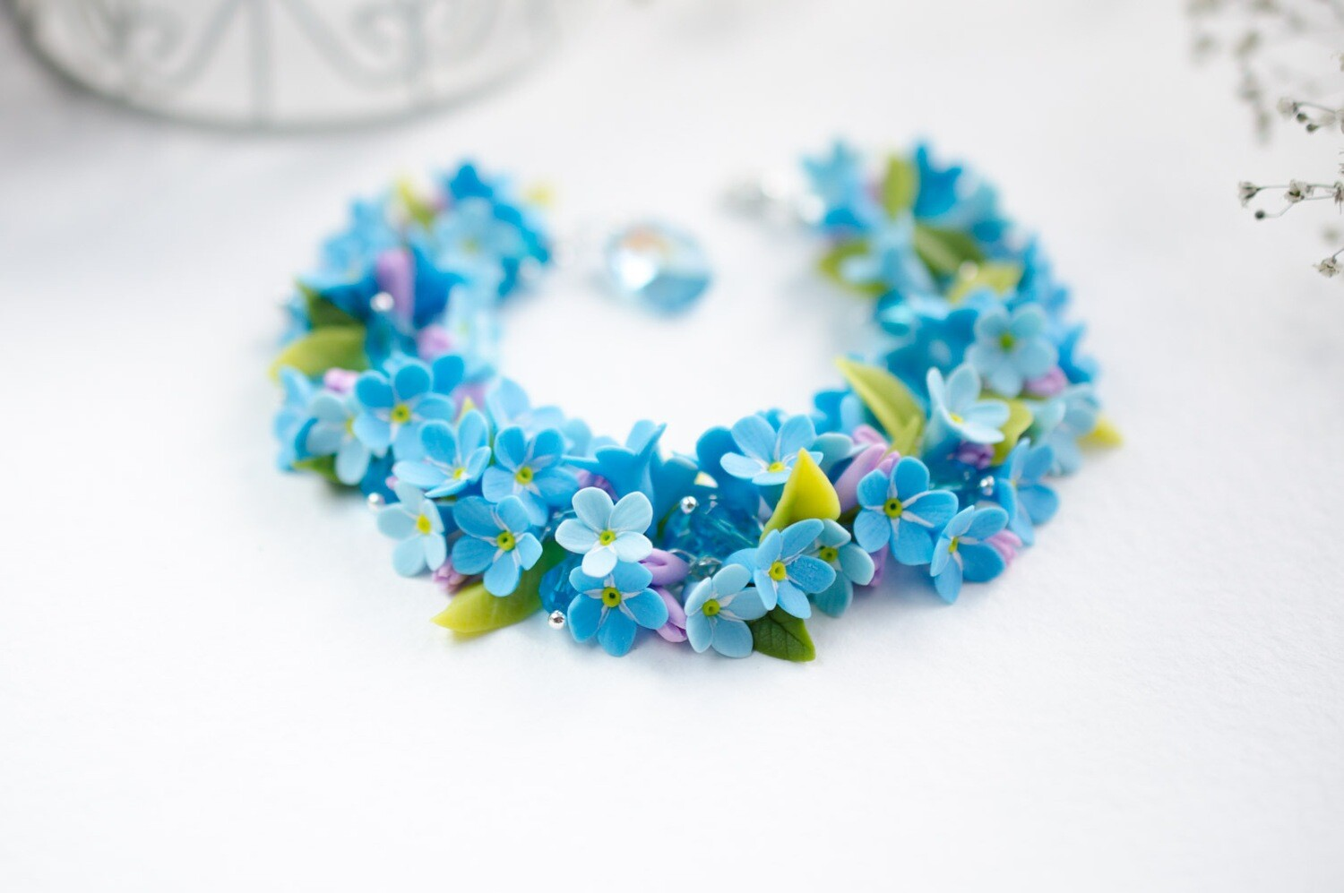 Forget me not bracelet, Blue floral jewelry, Tiny flowers Summer mood gift