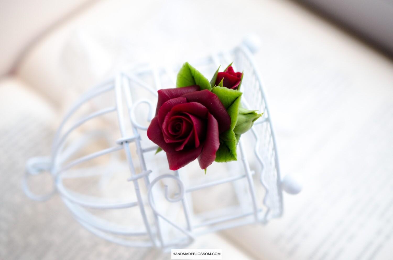 Dark red rose pendant, Burgundy flower necklace, Marsala rose jewelry