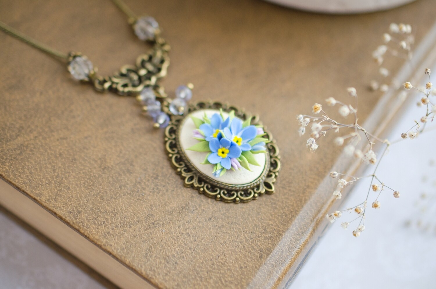 Forget me not necklace, Blue myosotis flowers pendant, mother's day gift