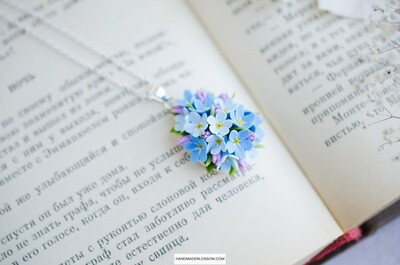 Forget me not necklace, Blue flower, Romantic gift for women,