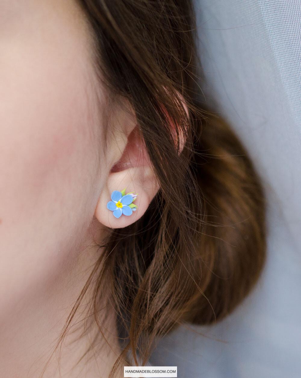Forget me not stud earrings, Forget Me Not studs, Blue myosotis