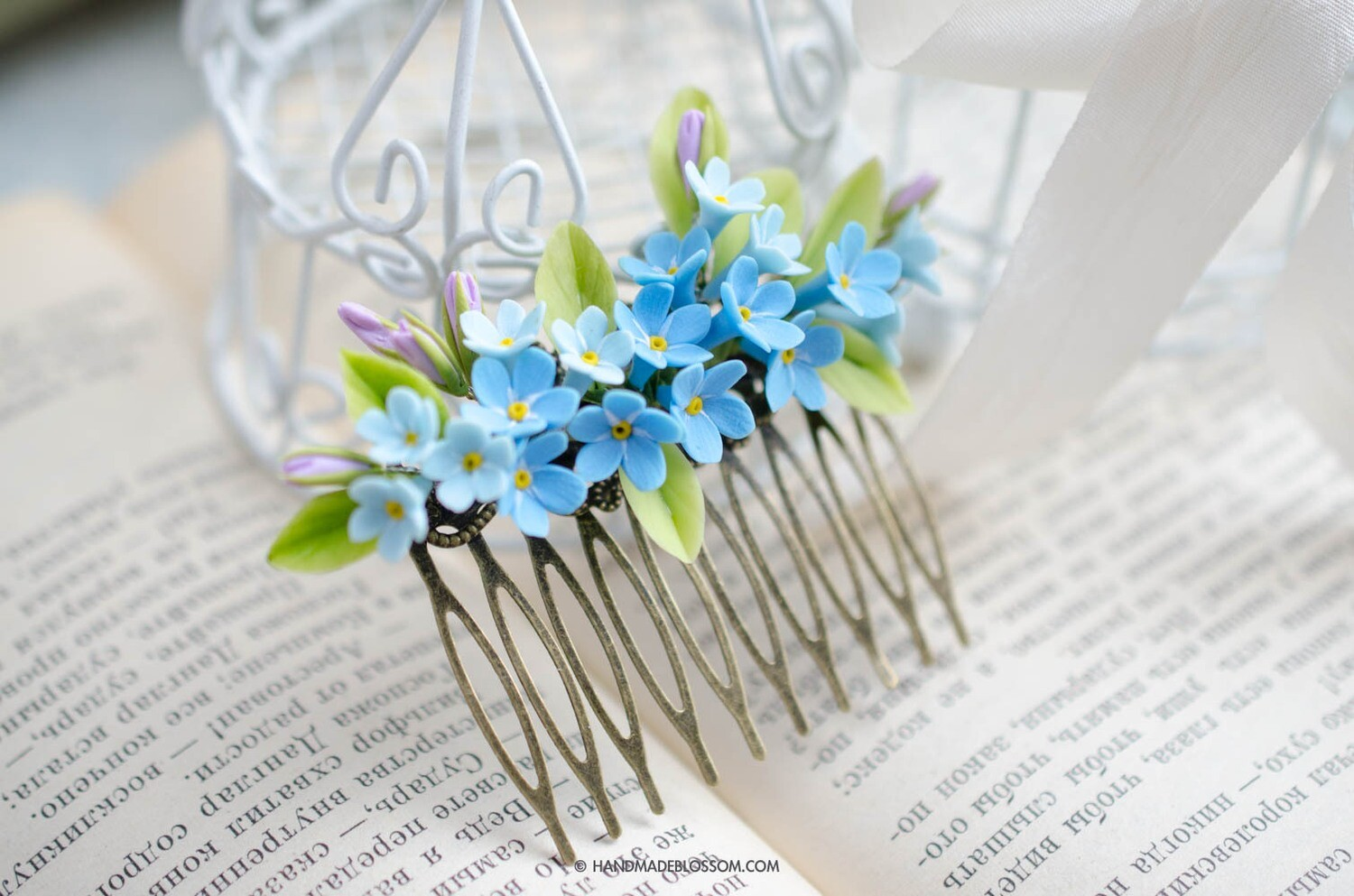 Forget me nots flowers hair comb, Blue wedding jewelry