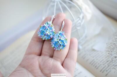 Forget me not earrings, Blue flower, Bridal floral earrings