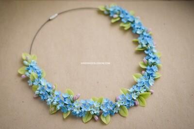 Forget me not necklace, myosotis necklace, Blue flowers
