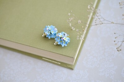 Forget me not clip on earrings