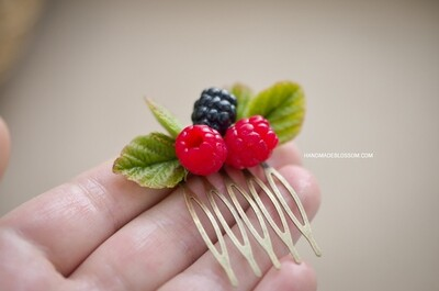 Raspberry hair comb, Rustic wedding hair comb, Berry accessories