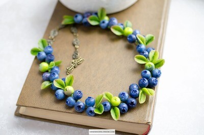 Blueberry necklace, rustic wedding jewelry