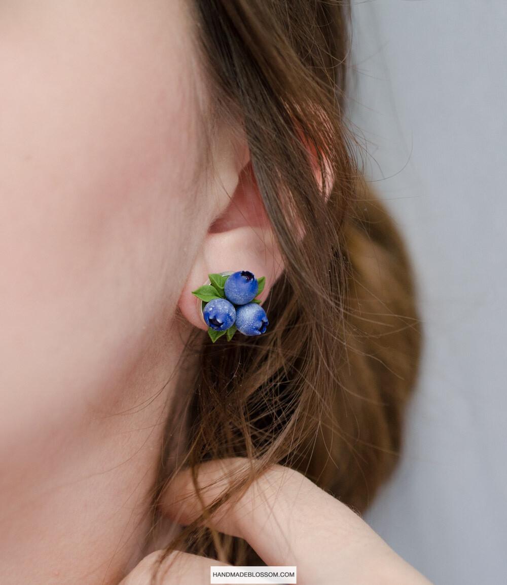 Blueberry stud earrings, Berries studs, Sterling silver jewelry