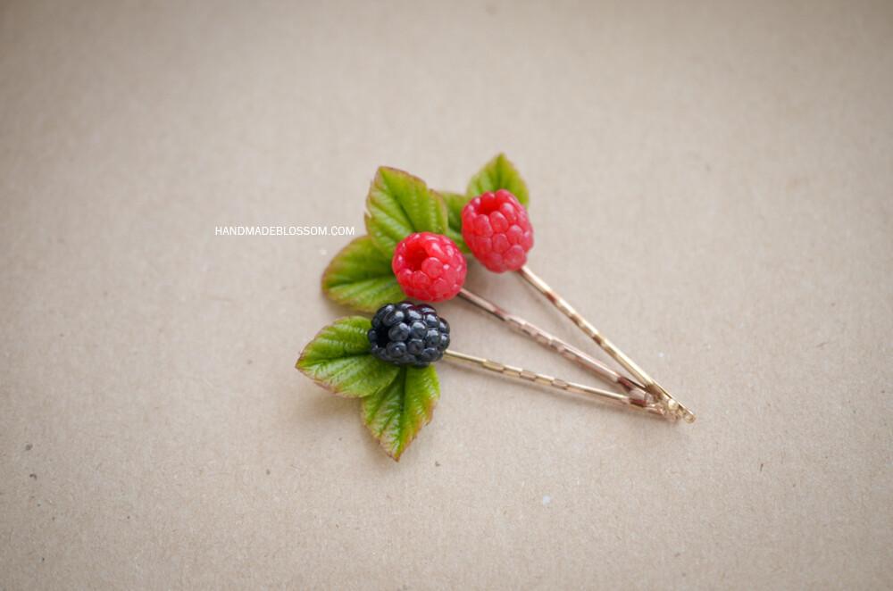 Berry bobby pin, Raspberry red wedding, Rustic jewelry