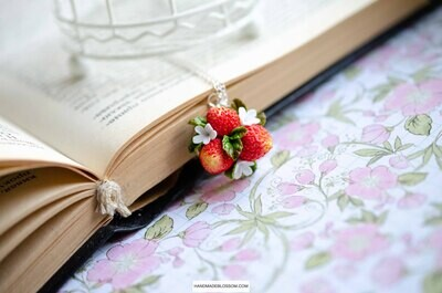 Red Strawberry Necklace, Berry and flowers charm