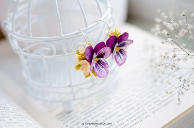 Pansy earrings, Yellow lilac