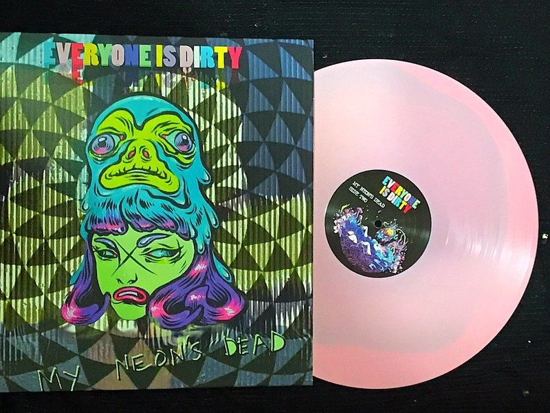Limited Edition 'My Neon's Dead' LP on Pink Eats Black Vinyl with Lyrics Coloring Book