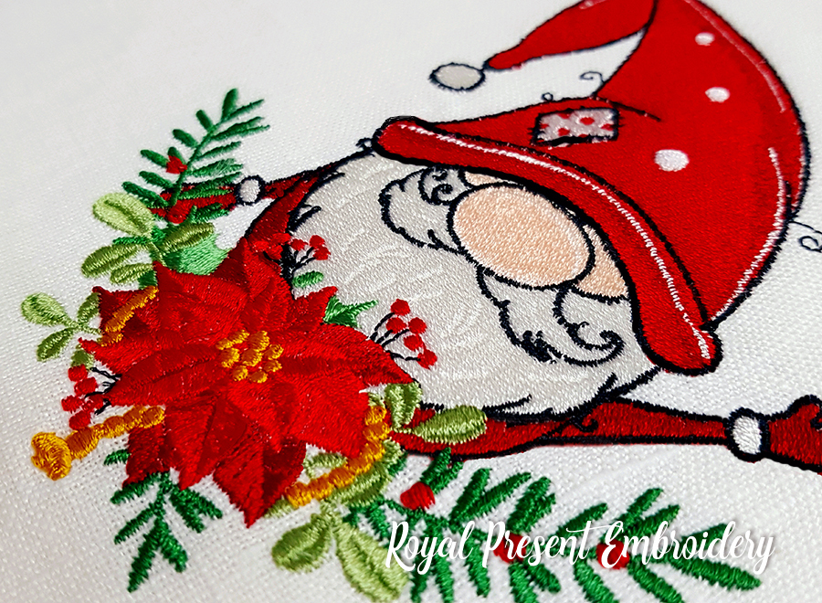 Santa Christmas Gnomes linework 2 styles in 4 sizes machine embroidery design 2 winter christmas pillows dish towels etc 3