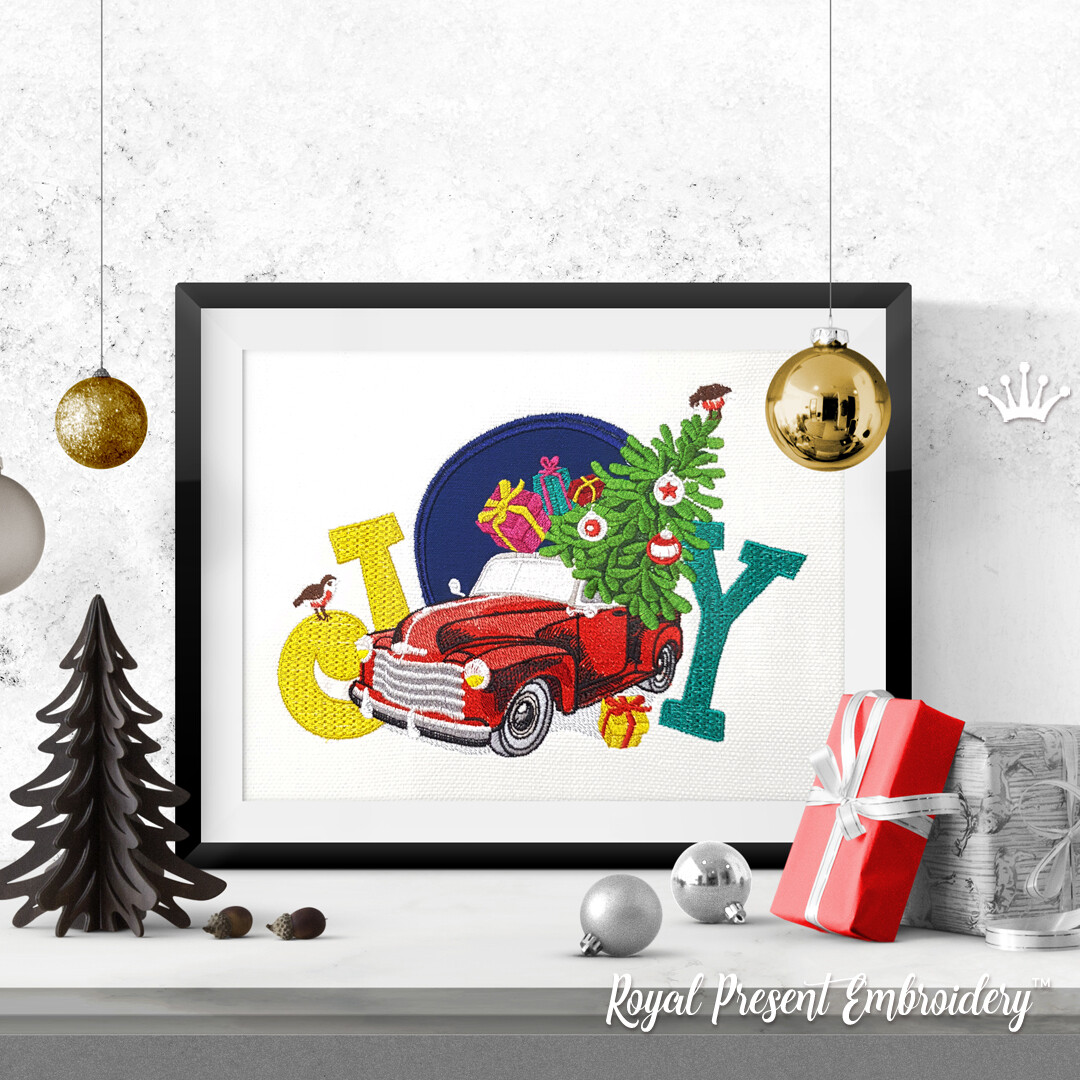 Red Christmas Truck Machine Embroidery Design