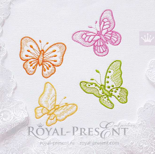 Butterflies Machine Embroidery Design Digital Download Only