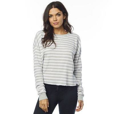 BLUSA STRIPED OUT LS THERMAL CROP WHT