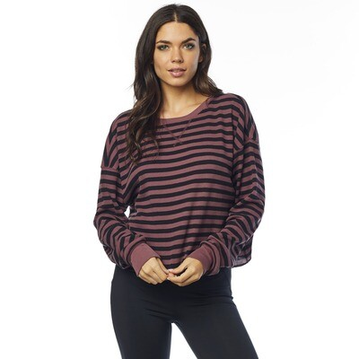 BLUSA STRIPED OUT LS THERMAL CROP RSE