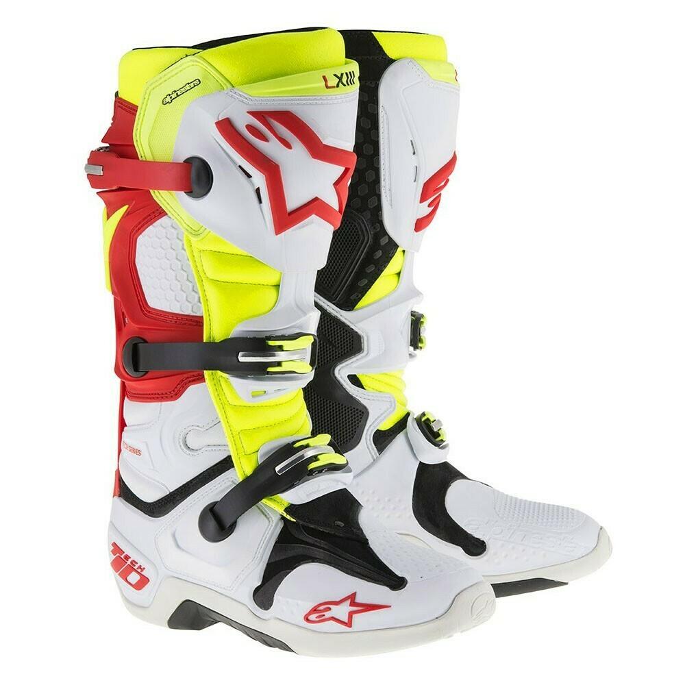 Botas Alpinestars Tech 10 Blancas /rojas/Amarillas fluo