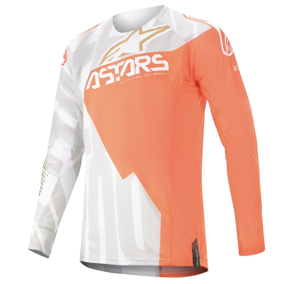 Jersey Alpinestars Techstar 2020 Factory Metal Blanca / Naranja Fluo / Dorada.