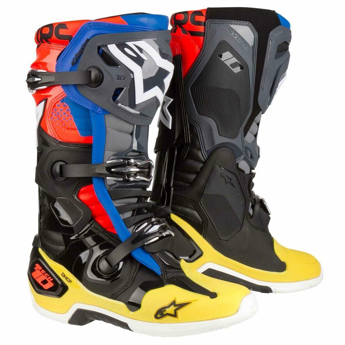 Botas Alpinestars Tech 10 Negro Gris Amarillo