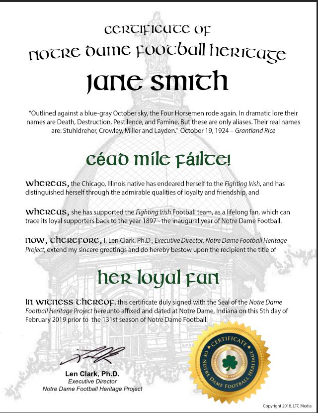 """""""Her Loyal Fan"""" Certificate"""