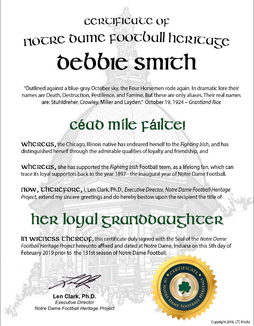 """""""Her Loyal Granddaughter"""" Certificate"""