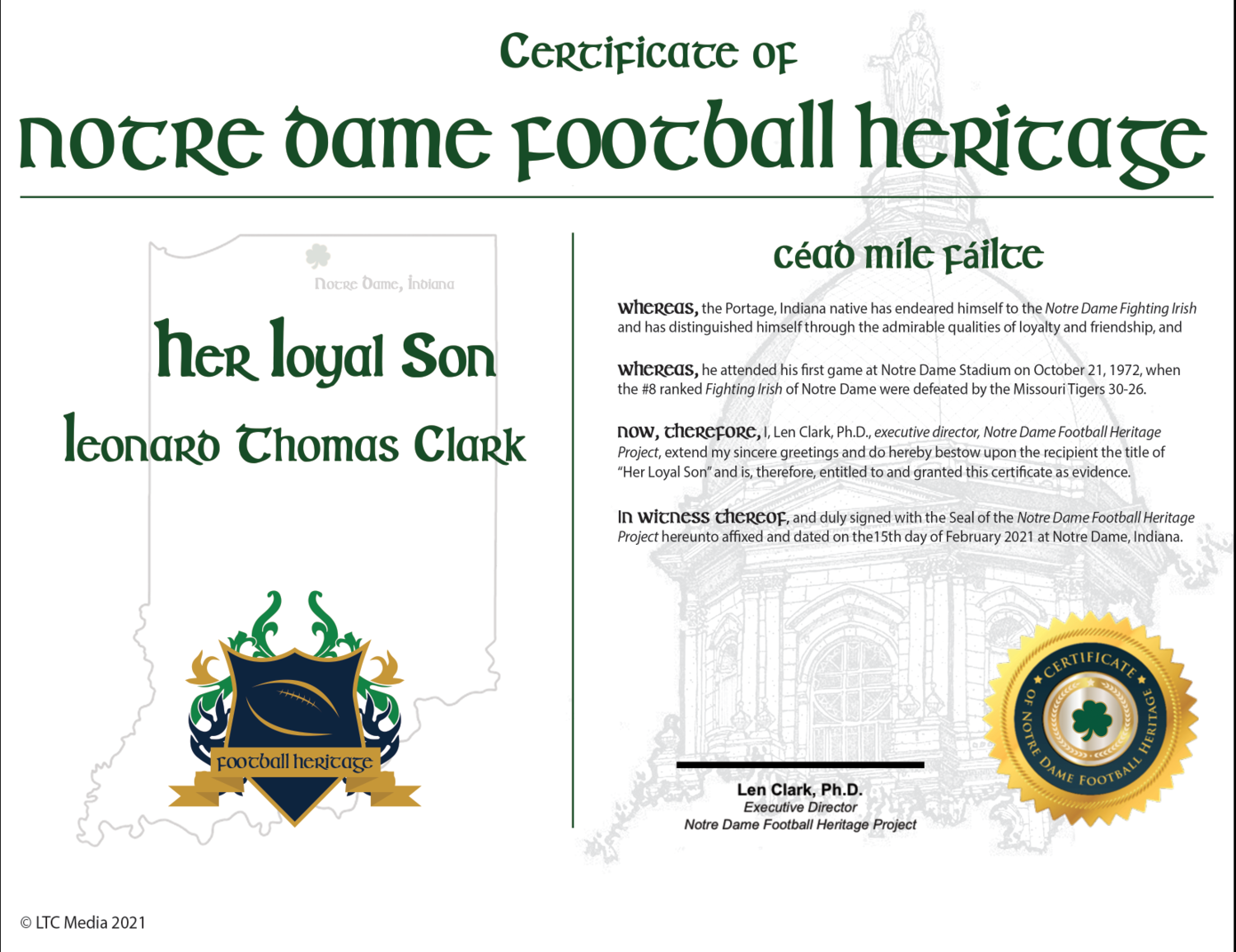 """""""Her Loyal Son"""" Certificate"""