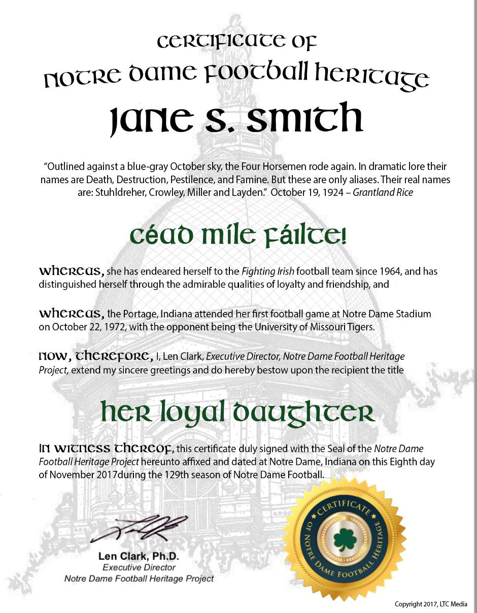 """""""Her Loyal Daughter"""" Certificate"""