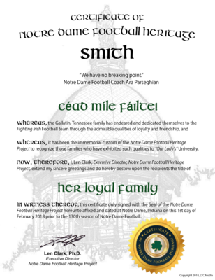 """""""Her Loyal Family"""" Certificate"""