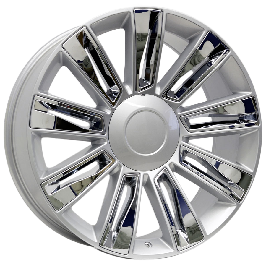 22x9 Escalade Fan Blade Style Replica, Silver with Chrome Inserts