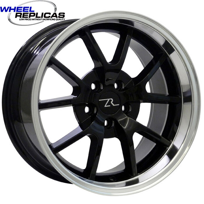 18x10 Black  w/Mirror Lip FR500 Style Replica Wheel