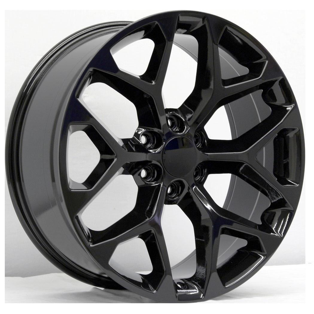 22x9 Snowflake Style Replica, Gloss Black