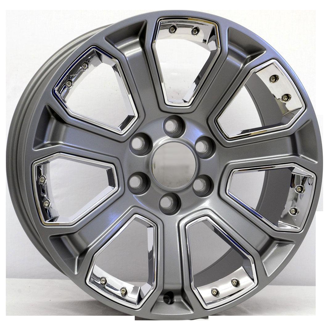 20x9 Denali Style Replica, Gunmetal with Chrome Inserts