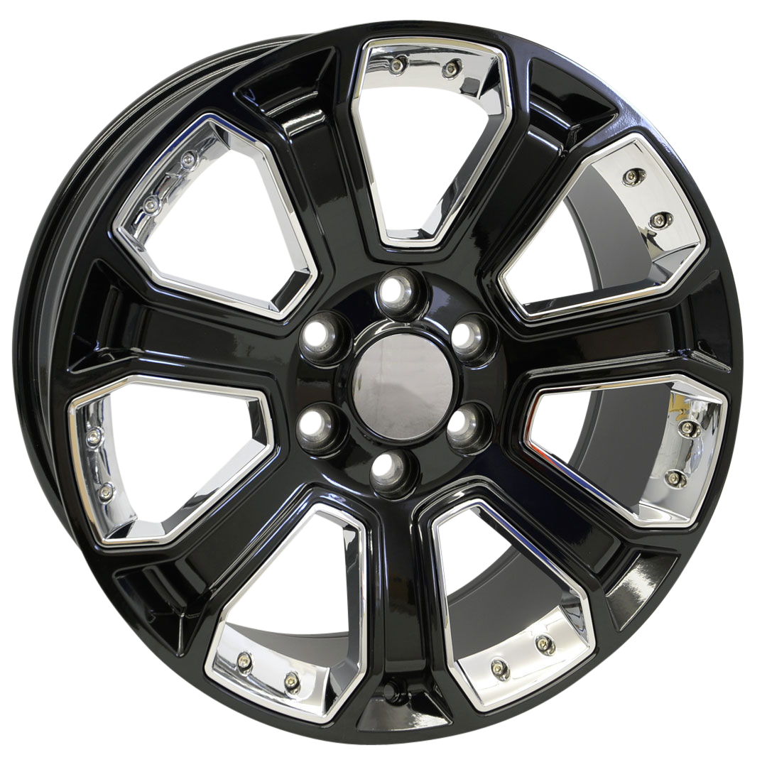 22x9 Denali Style Replica, Gloss Black with Chrome Inserts