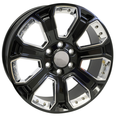 20x9 Denali Style Replica, Gloss Black with Chrome Inserts