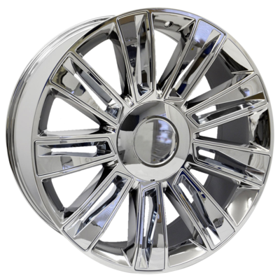 22x9 Escalade Fan Blade Style Replica, Chrome with Chrome Inserts