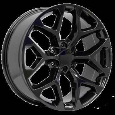 20x9 Snowflake Style Replica, Gloss Black