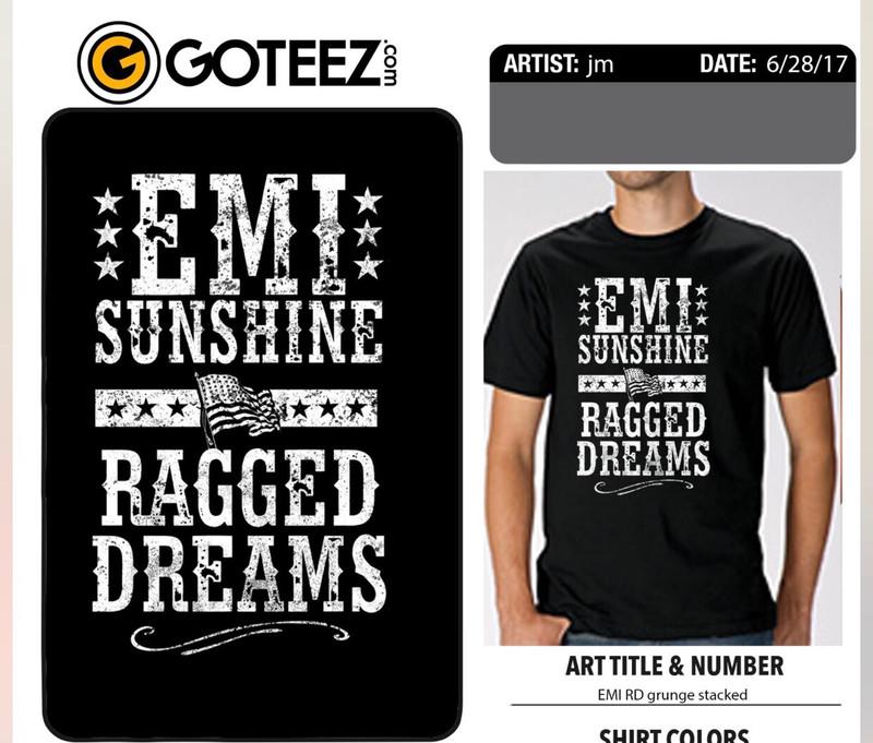Grey Ragged Dreams Flag Shirt- no XL