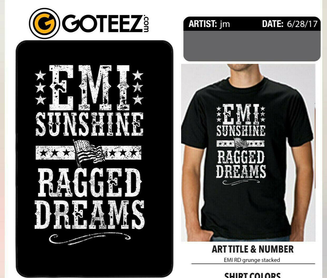 Grey Ragged Dreams Flag Shirt Youth Large
