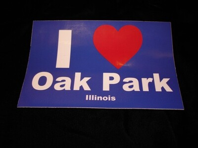 "Bumper sticker, ""I 'Heart' Oak Park"""