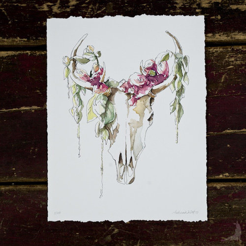 Mythical Skull & Fleurs Giclée (Pre-Order) 00006