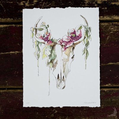 Mythical Skull & Fleurs Giclée